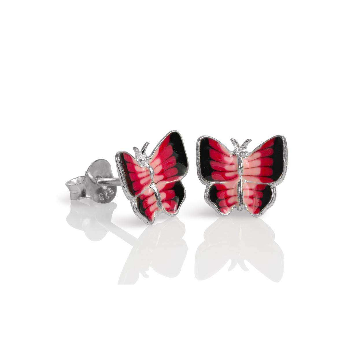 Sterling Silver & Red Enamel Flat Butterfly Stud Earrings
