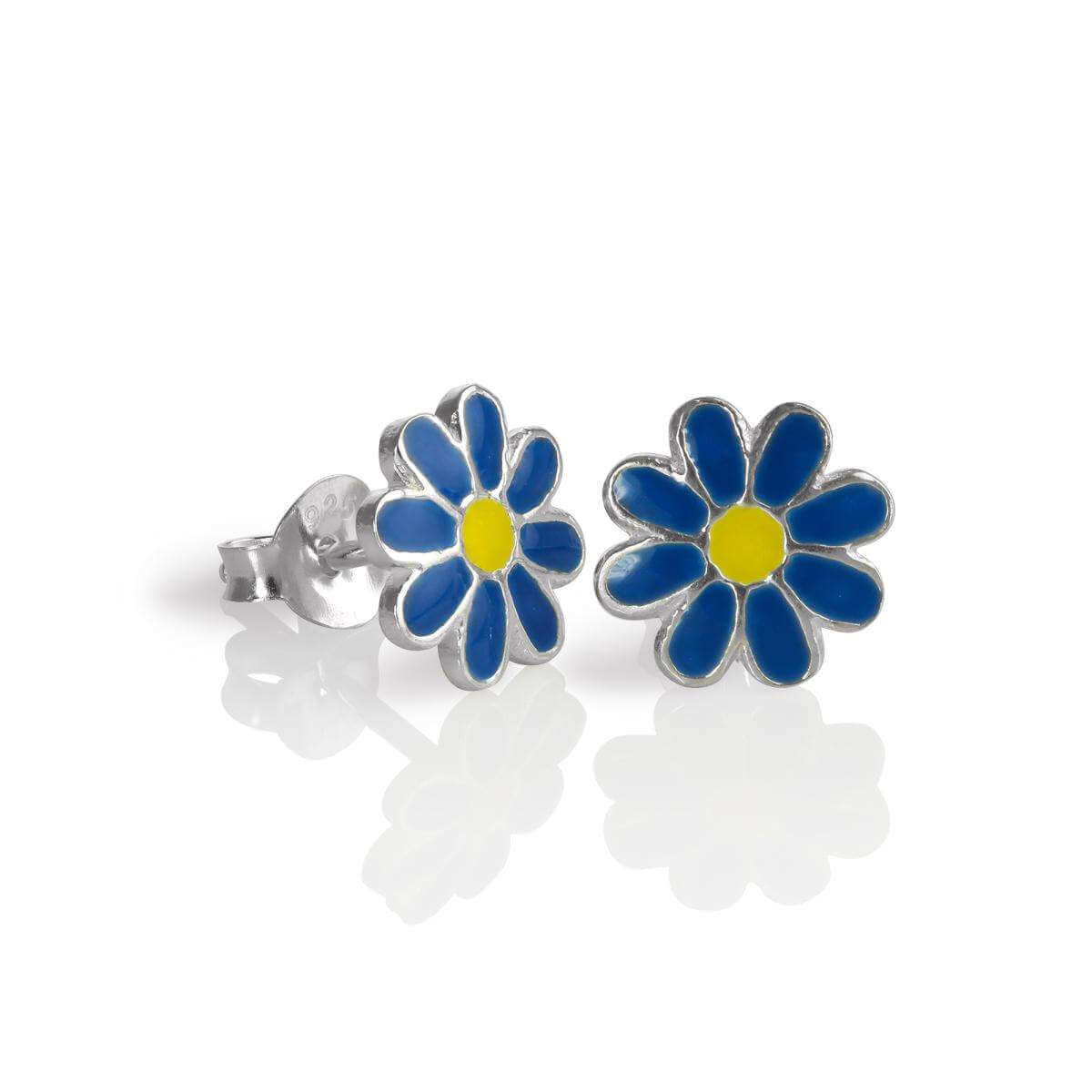 Sterling Silver & Enamel Flat Flower Stud Earrings - Blue