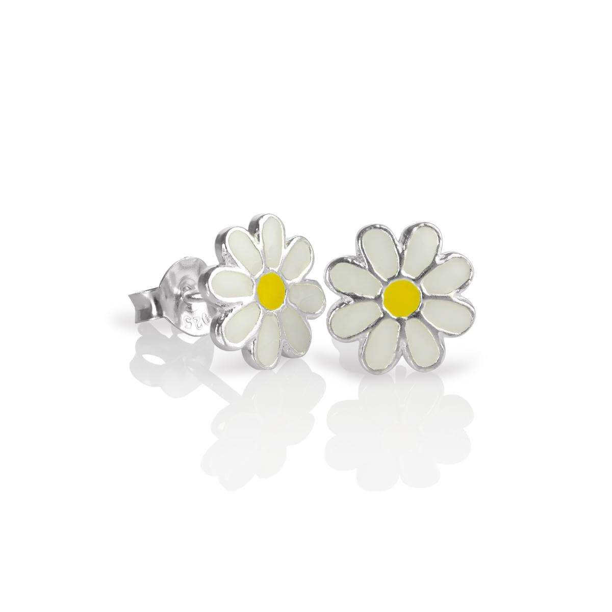 Sterling Silver & Enamel Flat Flower Stud Earrings - White