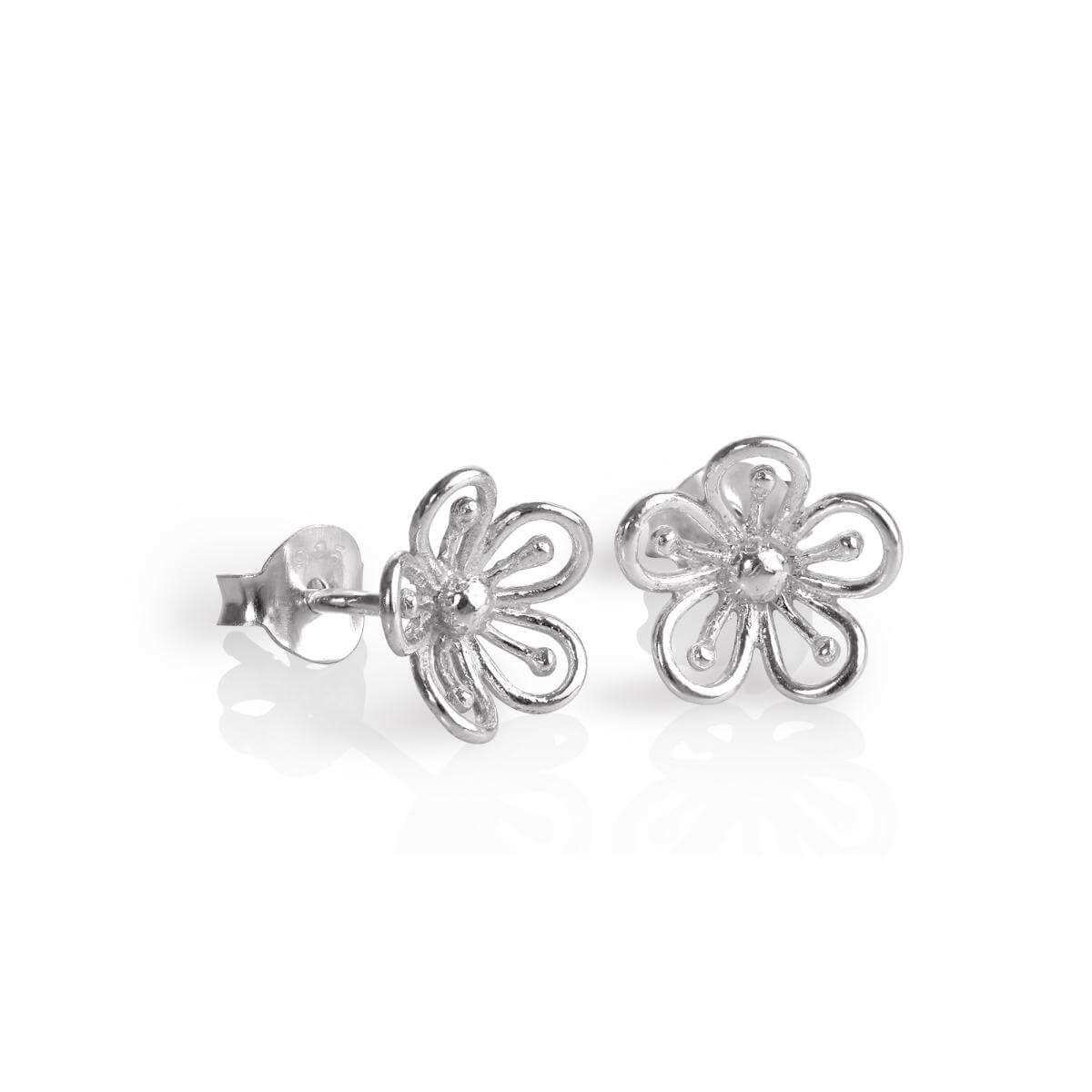 Sterling Silver 3D Open Flower Stud Earrings