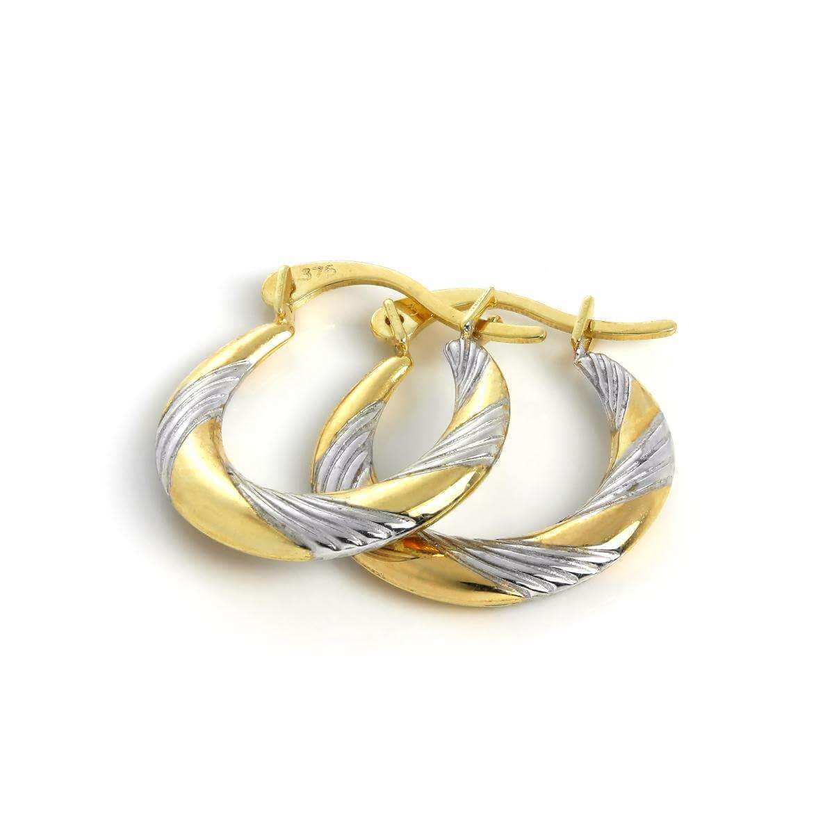 9ct White & Yellow Gold Twisted Creole 13mm Hoop Earrings