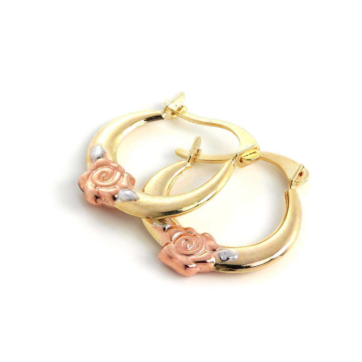 9ct Yellow White & Rose Gold 13mm Hoop with Rose Bud Creole Earrings