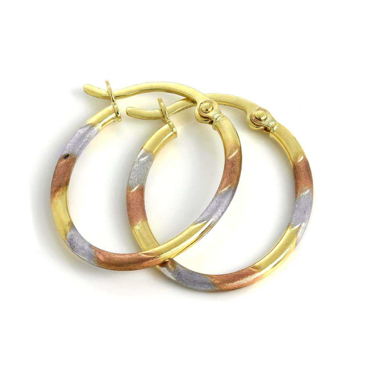9ct Yellow Rose & White Gold Lightweight Twist Oval Creole Earrings