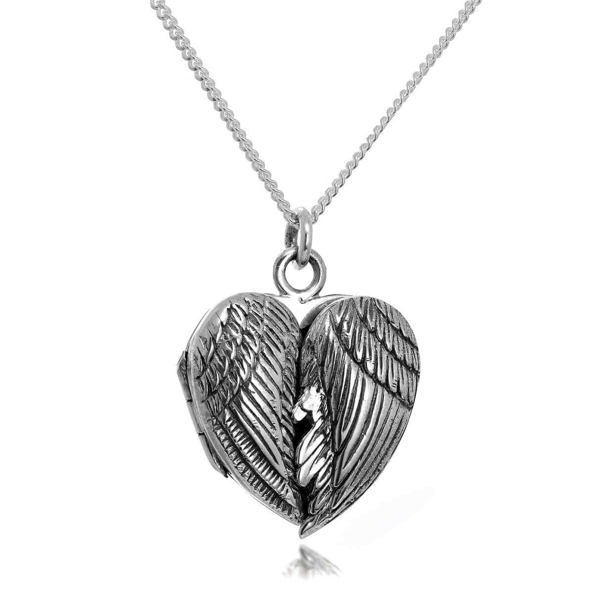 Sterling Silver Angel Winged Locket Necklace on Chain