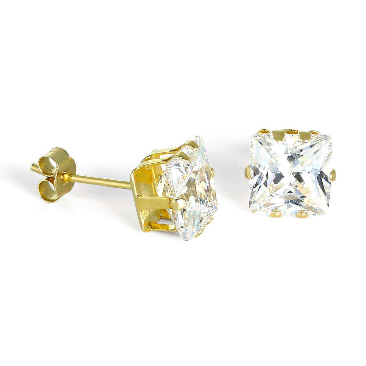 9ct Gold & 6mm Square Clear CZ Crystal Stud Earrings