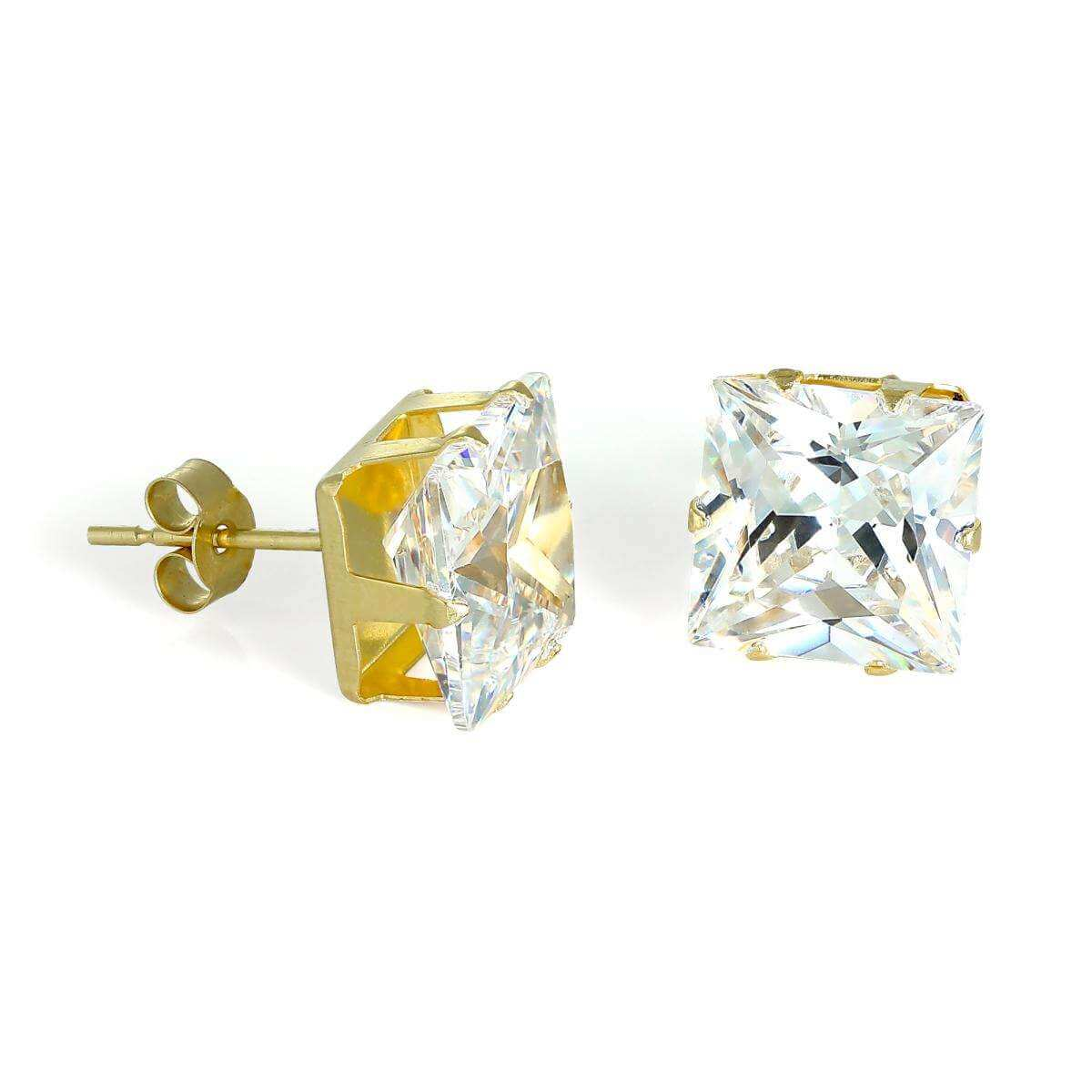 9ct Gold & 8mm Square CZ Crystal Stud Earrings