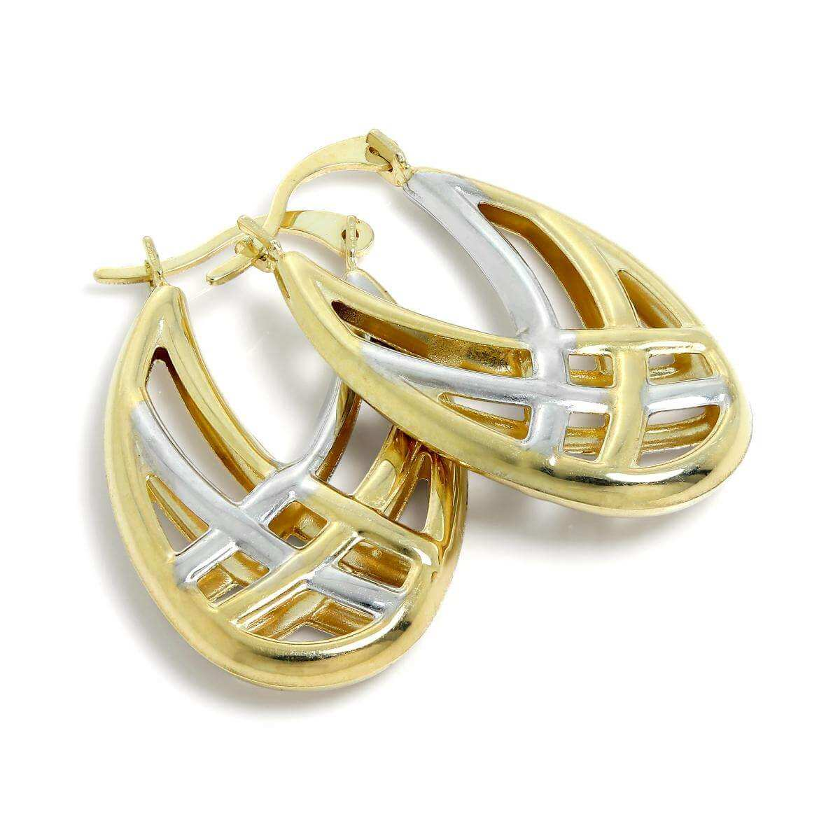 9ct White & Gold Weave Creole Earrings