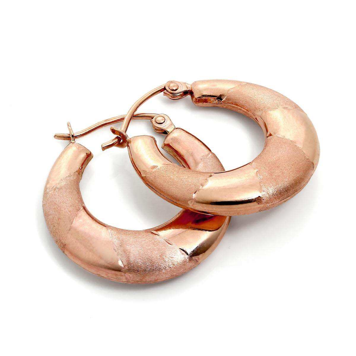Brushed & Polished 9ct Rose Gold Twist Creole Hoop Earrings