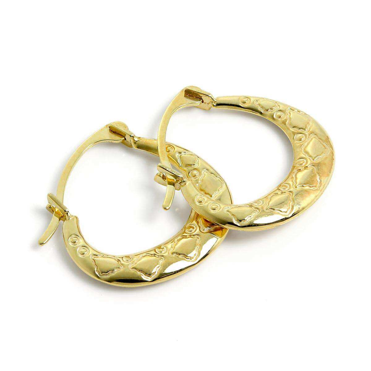 Small 9ct Gold Patterned Creole Hoop Earrings
