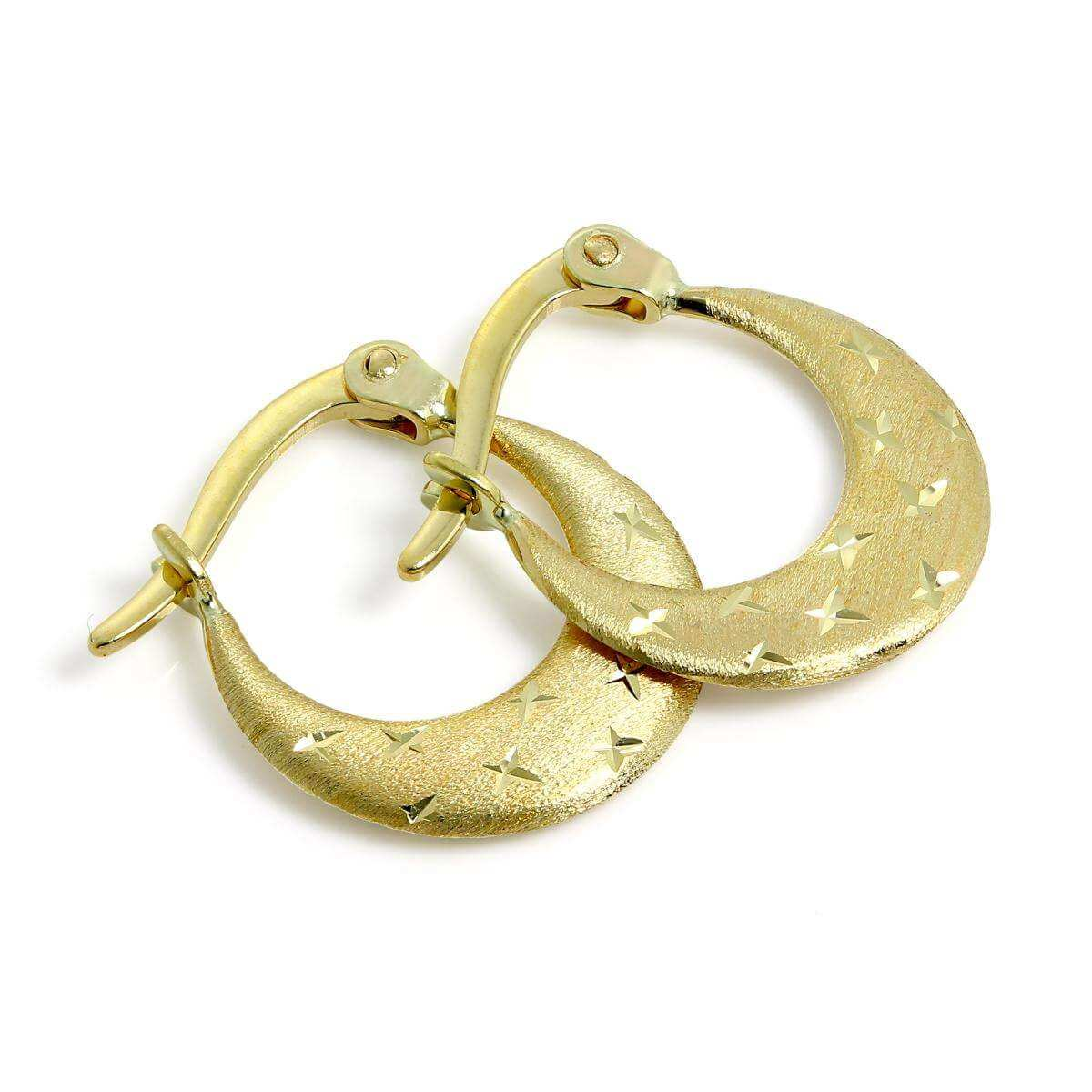 Small Brushed 9ct Gold Diamond Cut Creole Hoop Earrings
