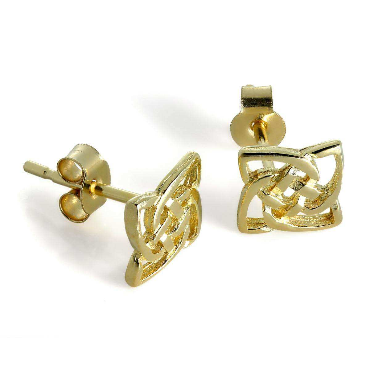 9ct Gold Square Celtic Knot Stud Earrings