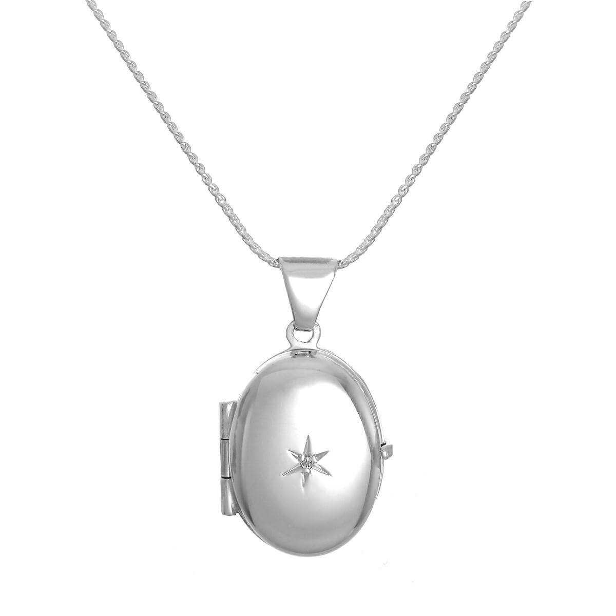 Small Sterling Silver Oval Locket with Diamond on Chain