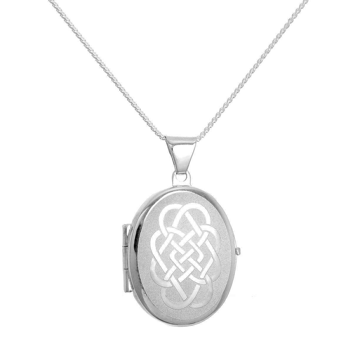 Matt Sterling Silver Oval Locket with Celtic Knot Design on Chain