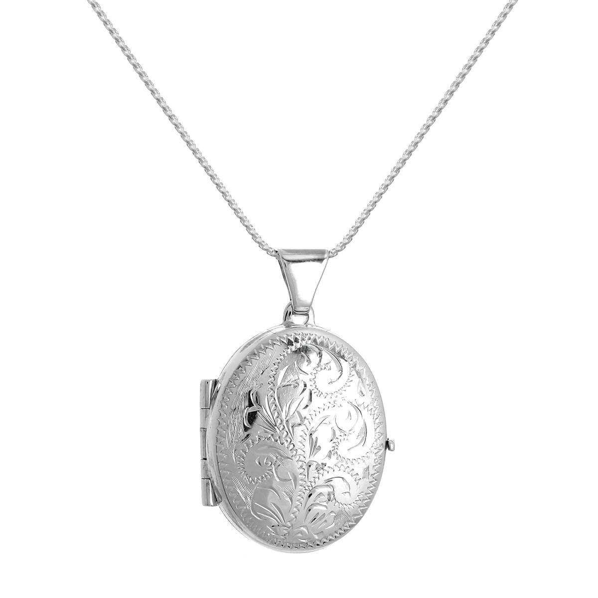Sterling Silver Engraved Oval 4 Photo Family Locket on Chain