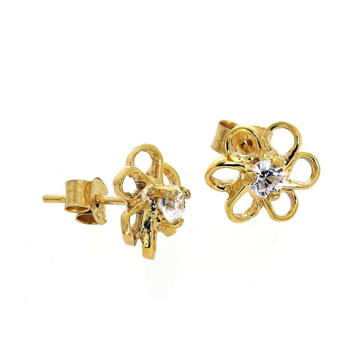 9ct Gold & CZ Crystal Open Flower Stud Earrings