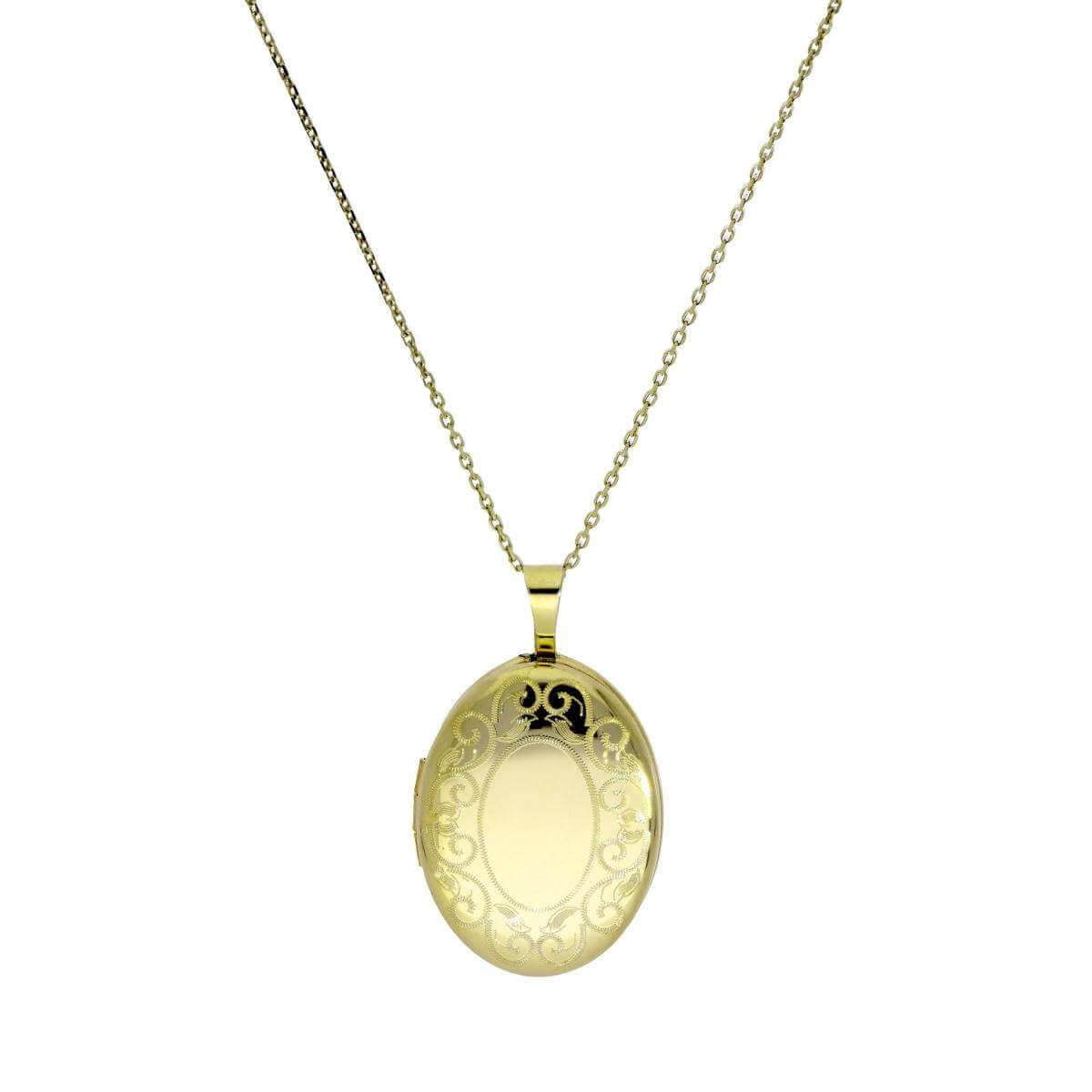 9ct Gold Engravable Oval Locket with Filigree Border on Chain 16 - 20 Inches