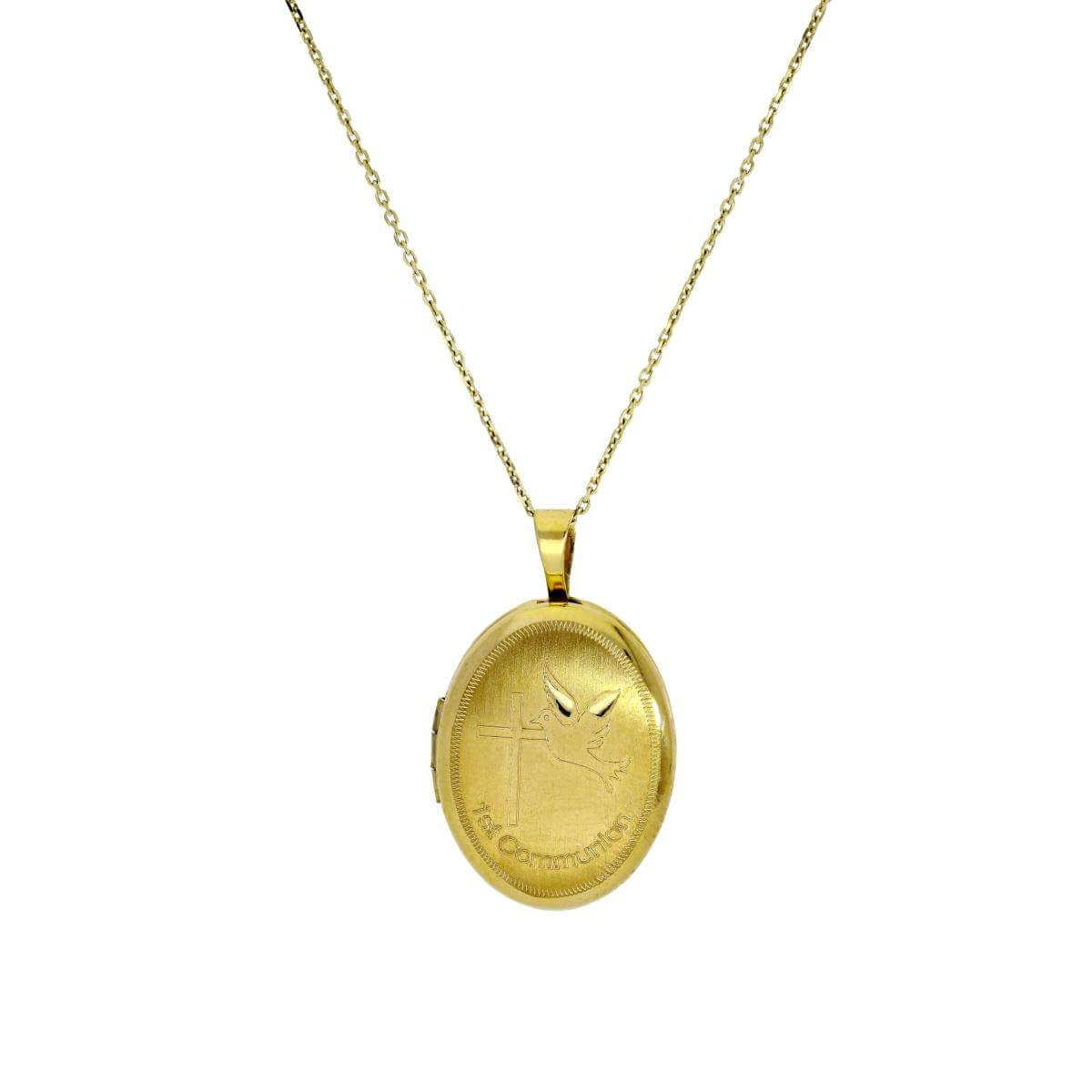 9ct Gold Engravable Oval First Communion Locket on Chain 16 - 20 Inches