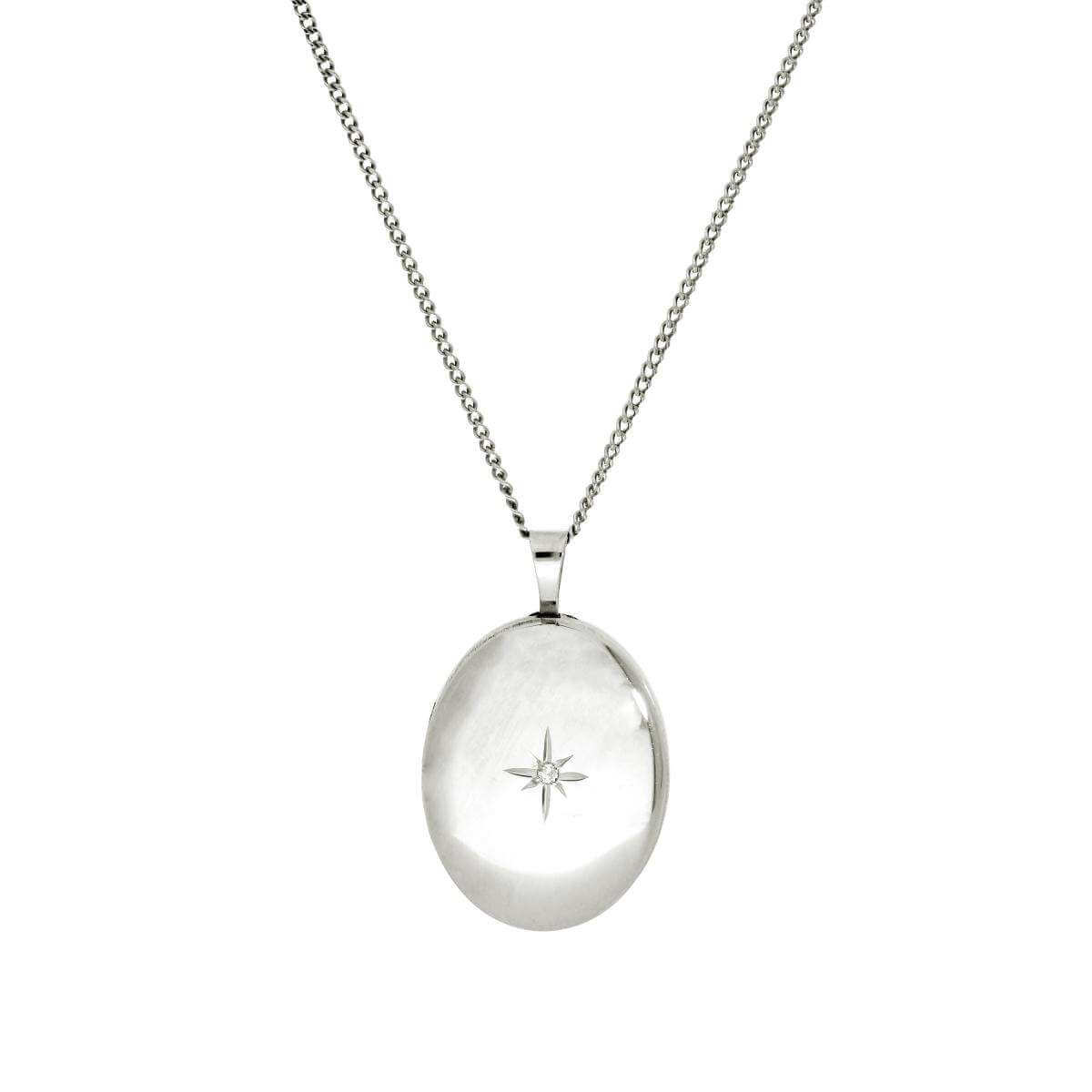 9ct White Gold & Diamond Oval Locket with Shining Star Design 16 - 18 Inches