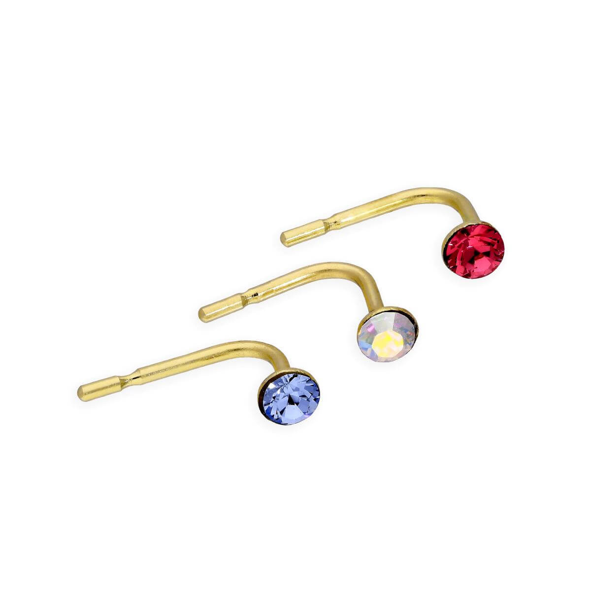Set of 3 9ct Gold & Coloured CZ Crystal 23Ga Nose Studs Pale Pink Blue Rainbow