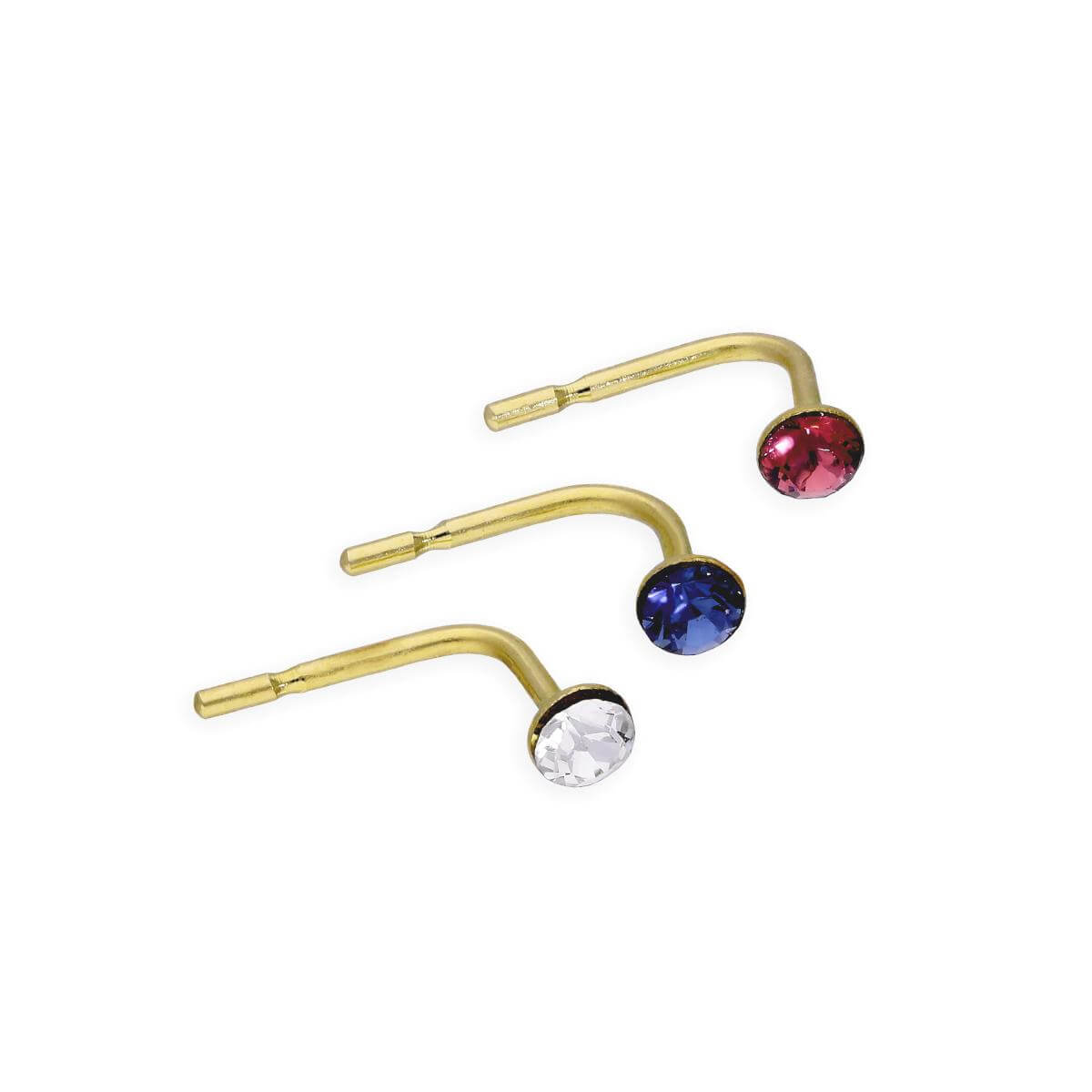 Set of 3 9ct Gold & Coloured CZ Crystal 23Ga Nose Studs Dark Pink Blue Clear