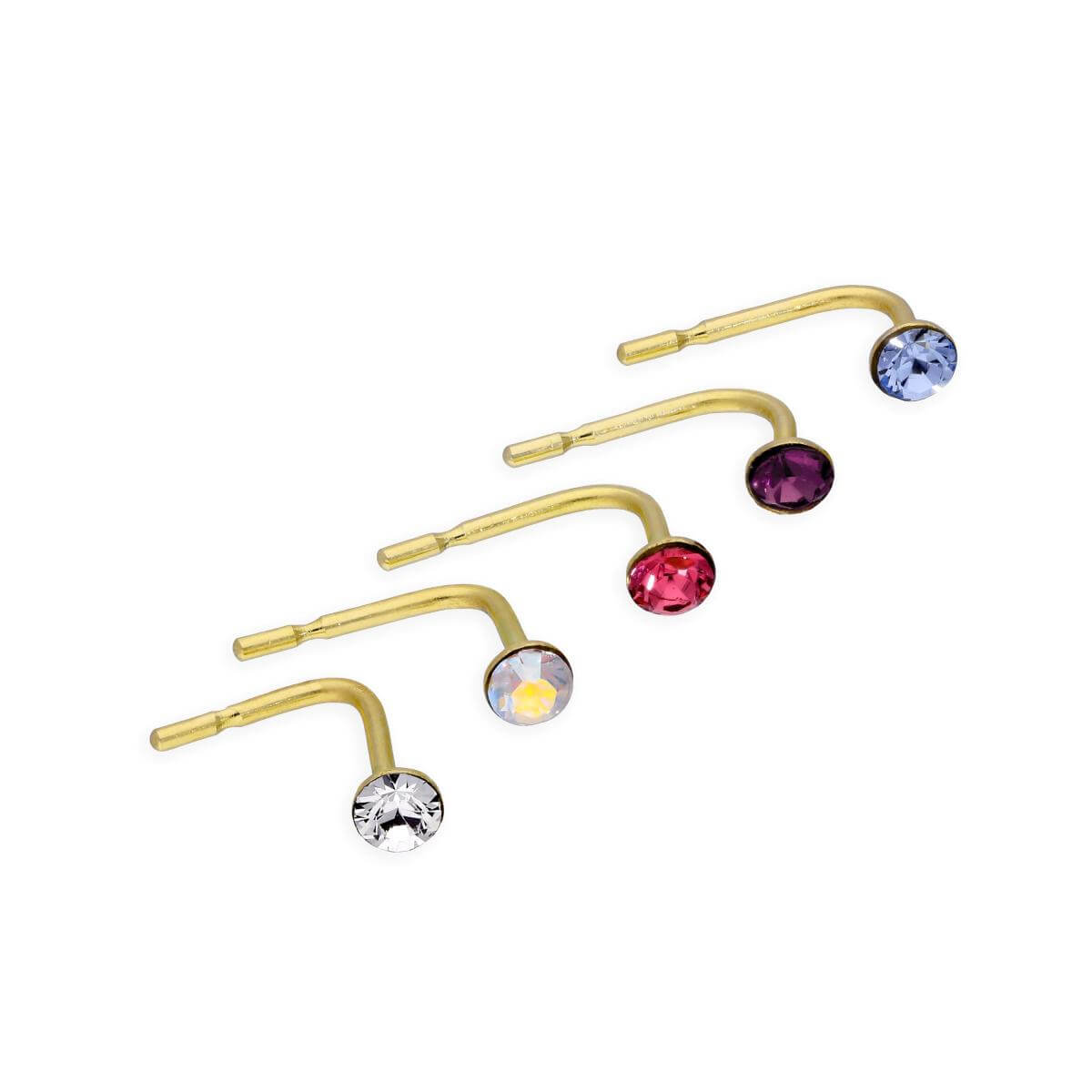Set of 5 9ct Gold & CZ Crystal 23Ga Nose Studs Pink Purple Blue Clear Rainbow
