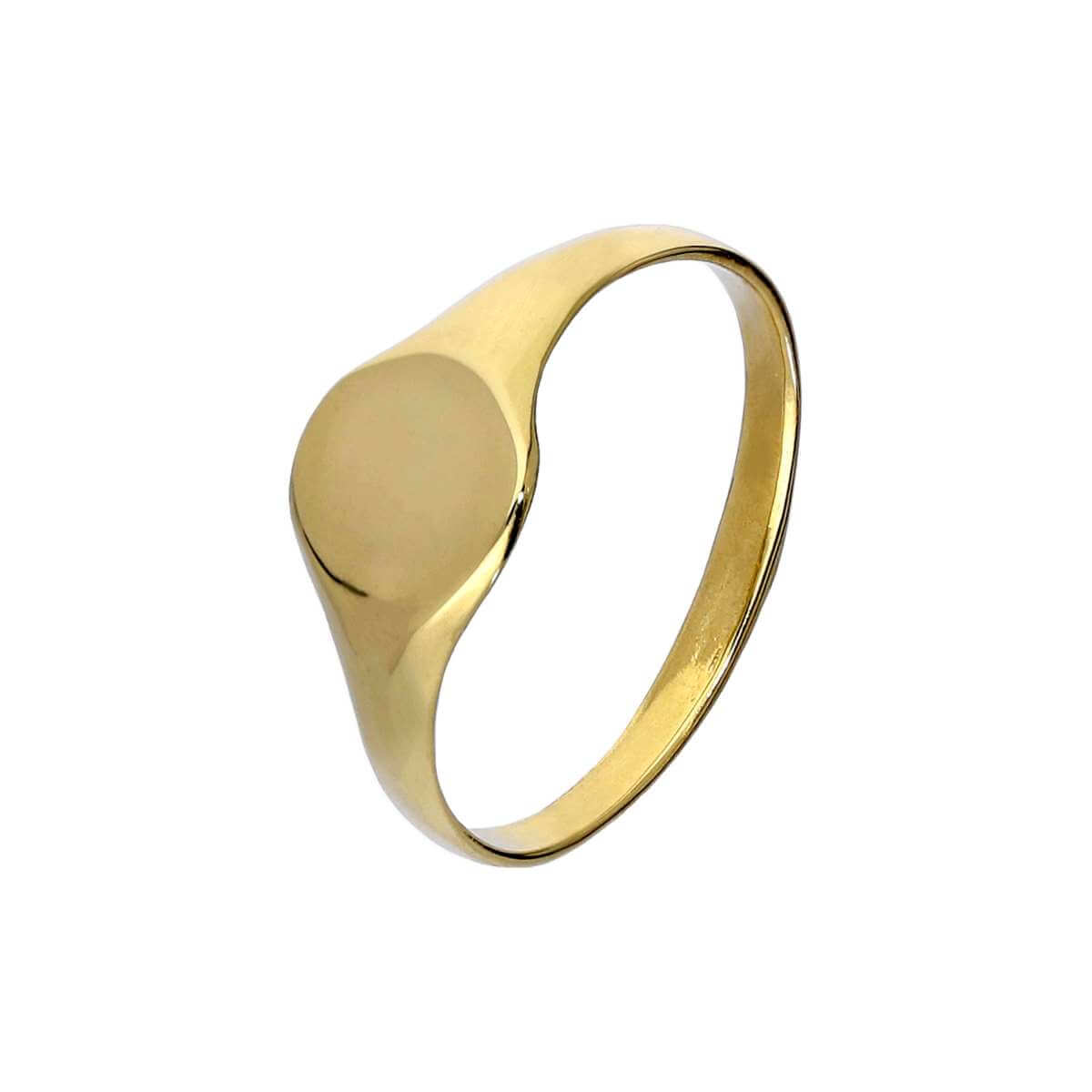 9ct Gold Engravable Childrens Round Signet Ring Size A - H