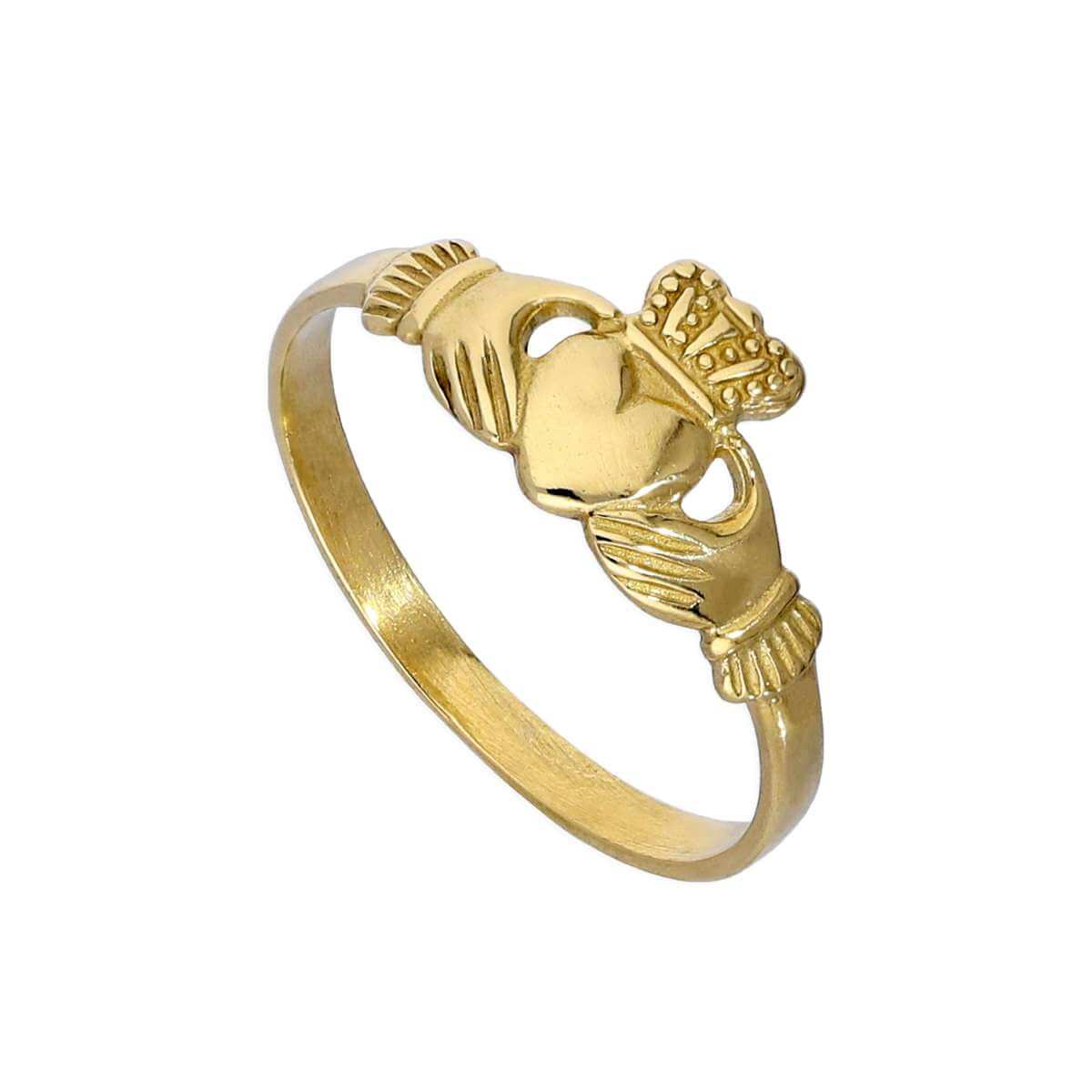 9ct Gold Childrens Claddagh Ring Size A - H