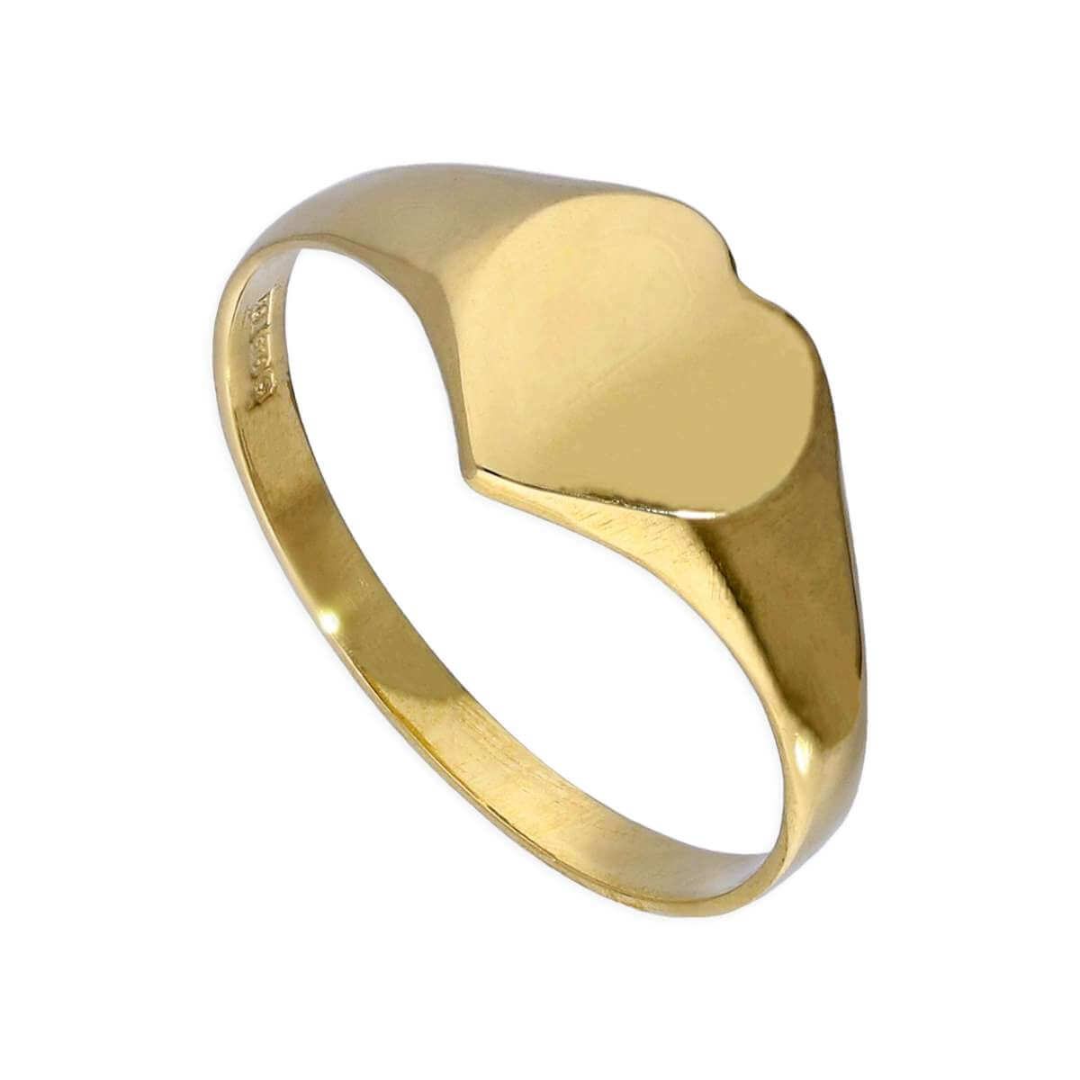 9ct Gold Engravable Teenage Heart Signet Ring Size F - M