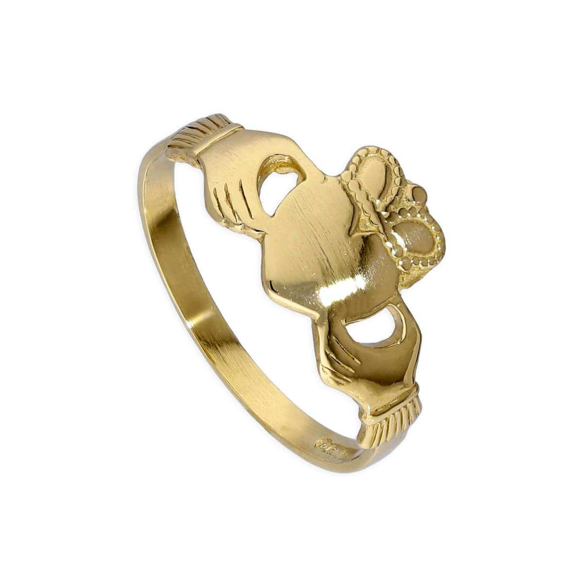 9ct Gold Engravable Teenage Claddagh Ring Size F - M