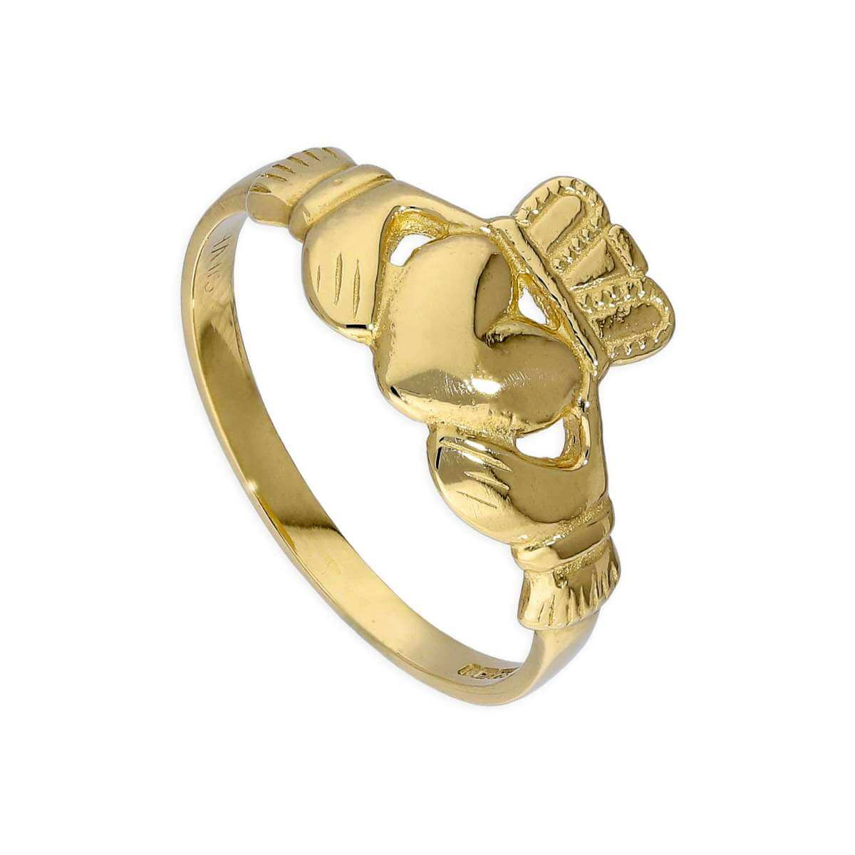 9ct Gold Ladies Claddagh Ring Size L - Q
