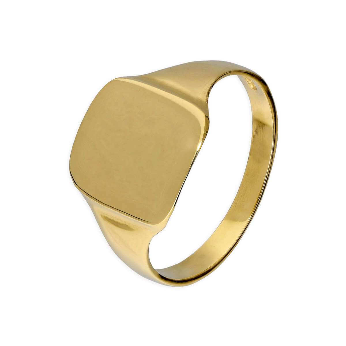 9ct Gold Engravable Gents Large Square Signet Ring Size R - W