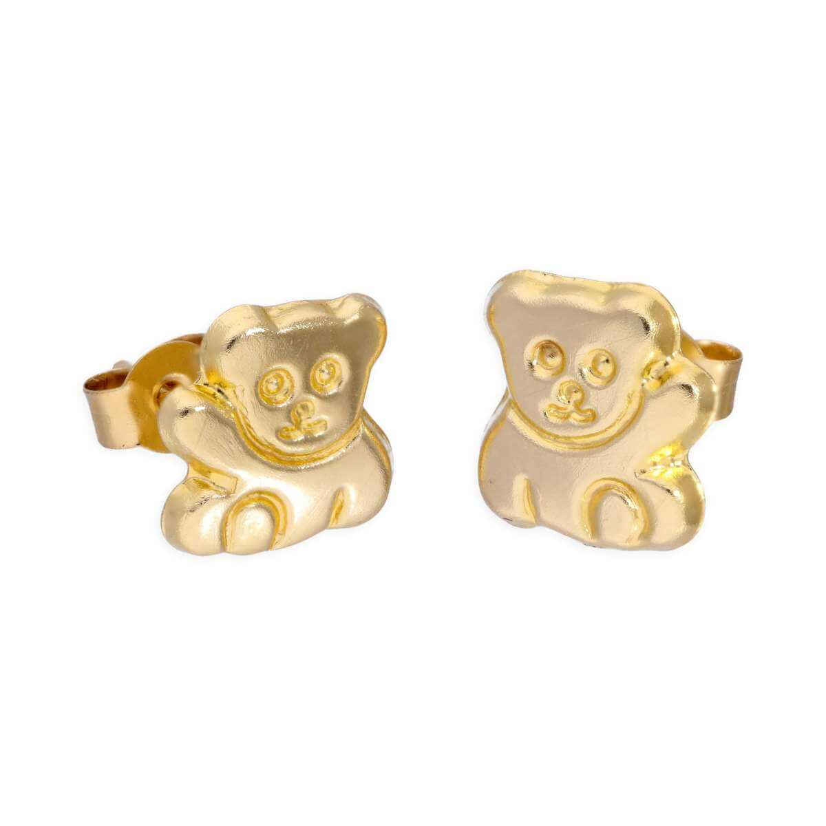 9ct Gold Waving Teddy Bear Stud Earrings