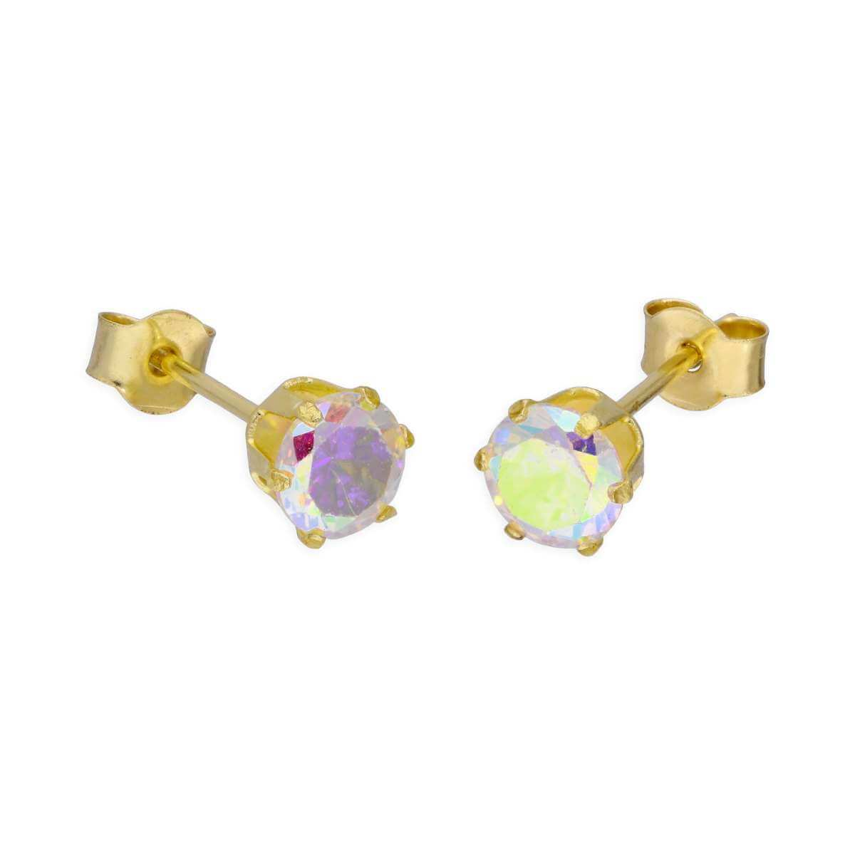 9ct Yellow Gold & 4mm Aurora Borealis CZ Crystal Stud Earrings