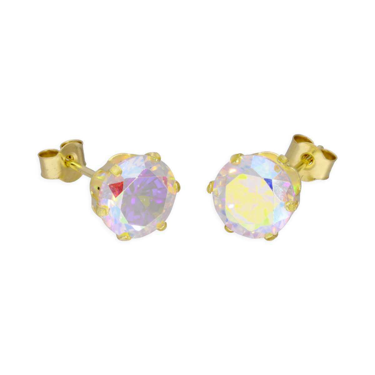 9ct Yellow Gold & 6mm Aurora Borealis CZ Crystal Stud Earrings