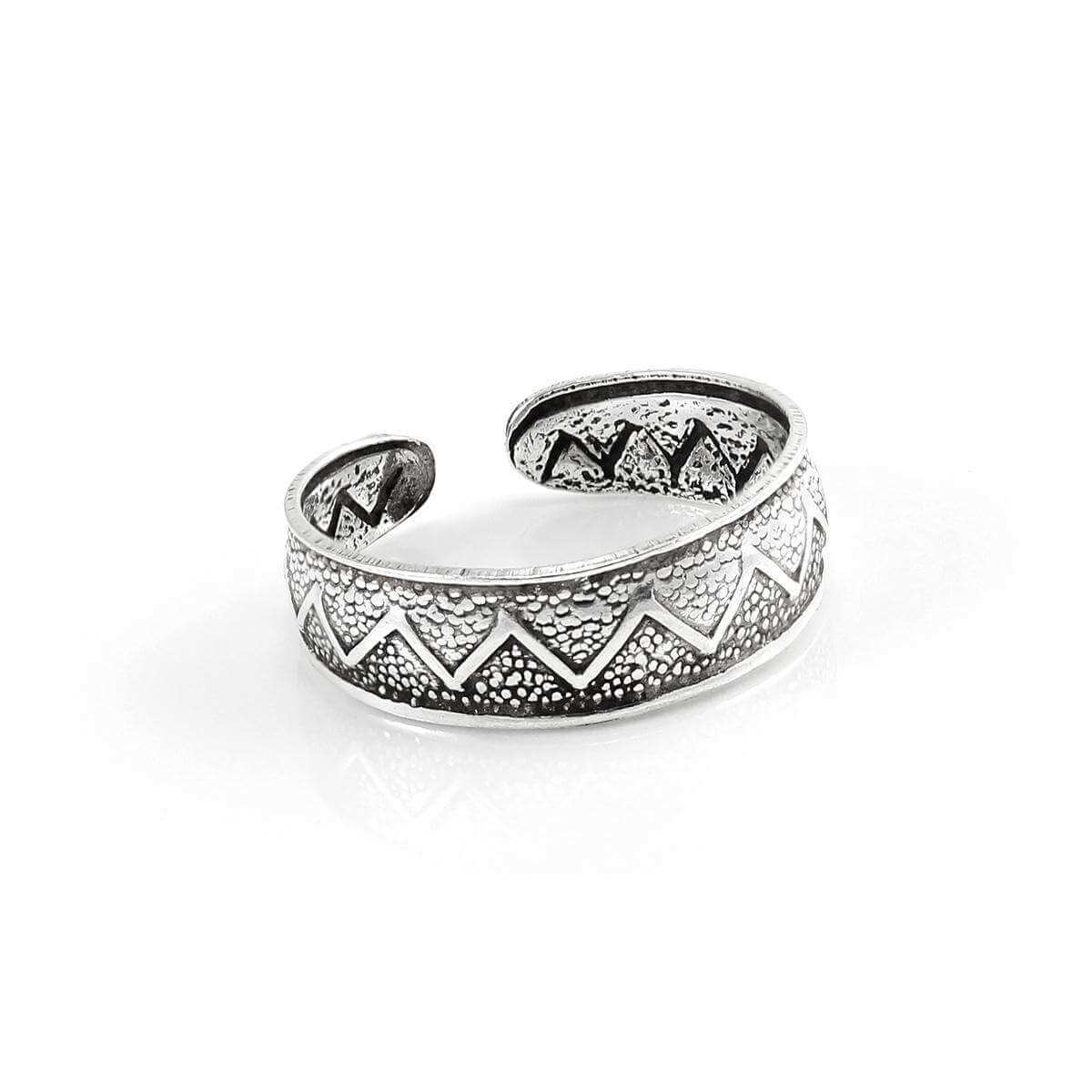 Sterling Silver Antiqued Adjustable 5mm Zig Zag Toe Ring