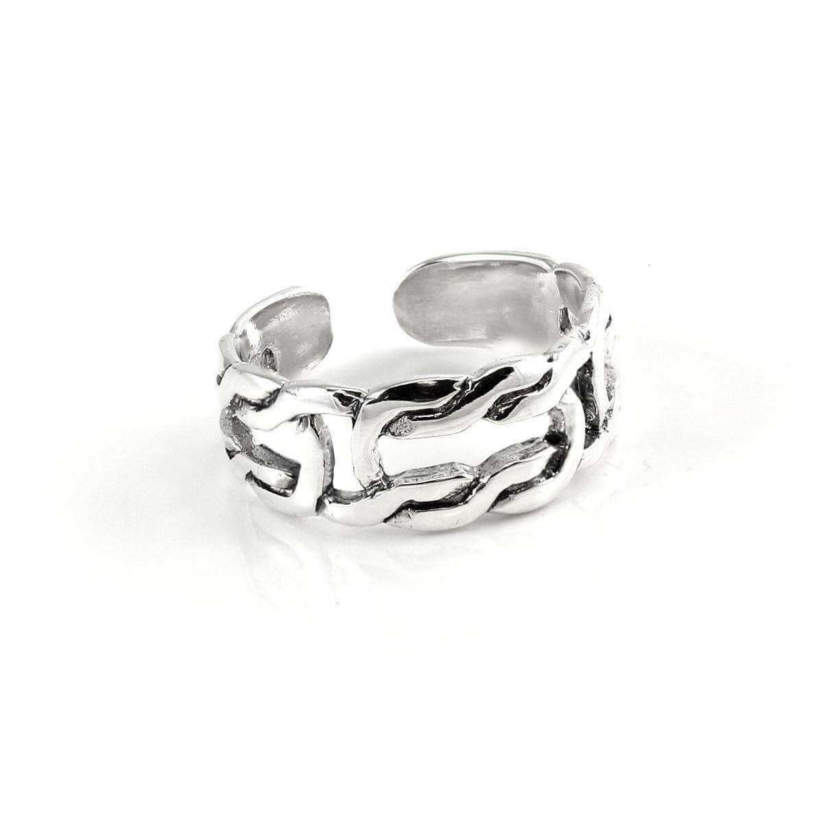 Sterling Silver Polished Adjustable 6mm Celtic Knot Toe Ring