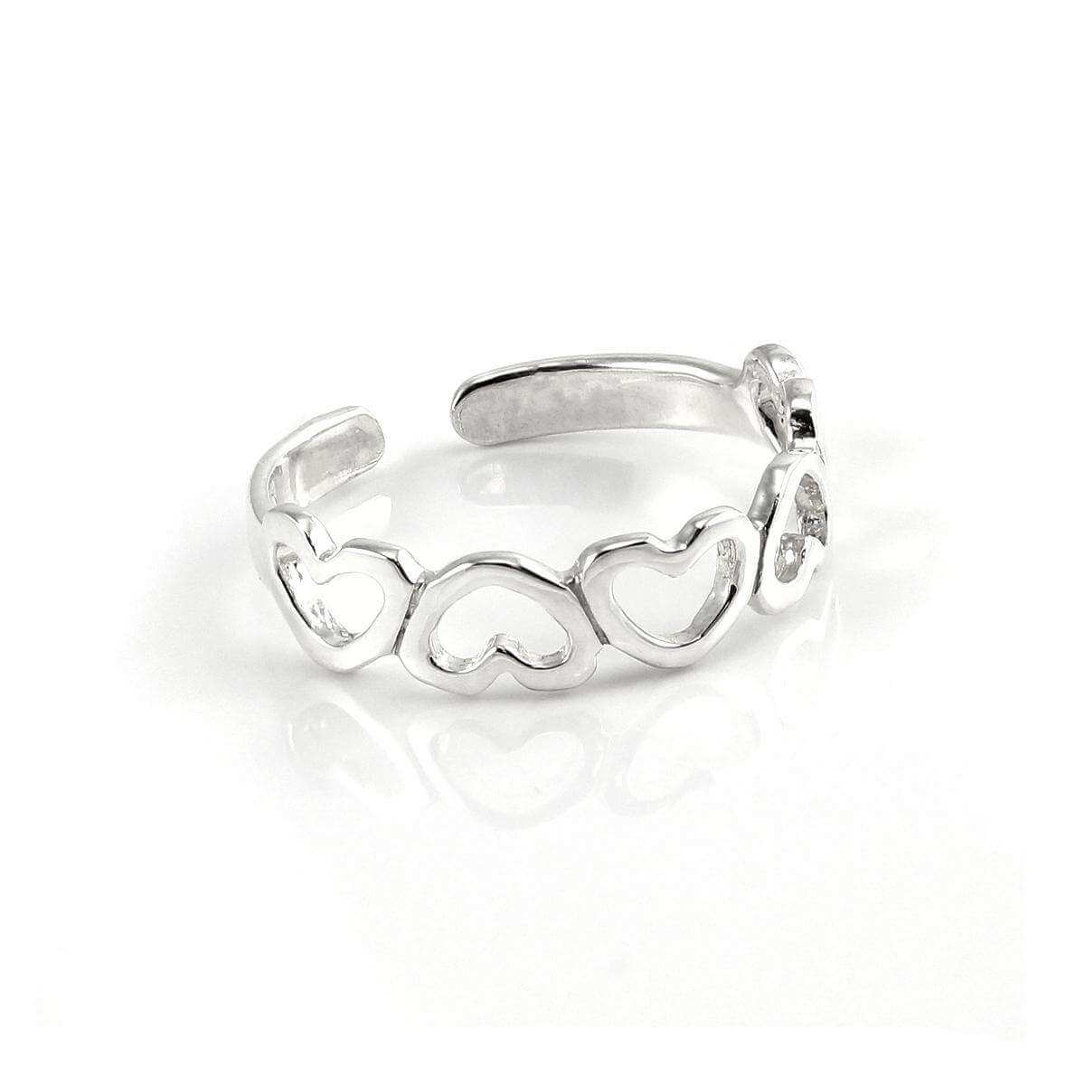 Plain Sterling Silver 4mm Adjustable Inverted Hearts Band Toe Ring