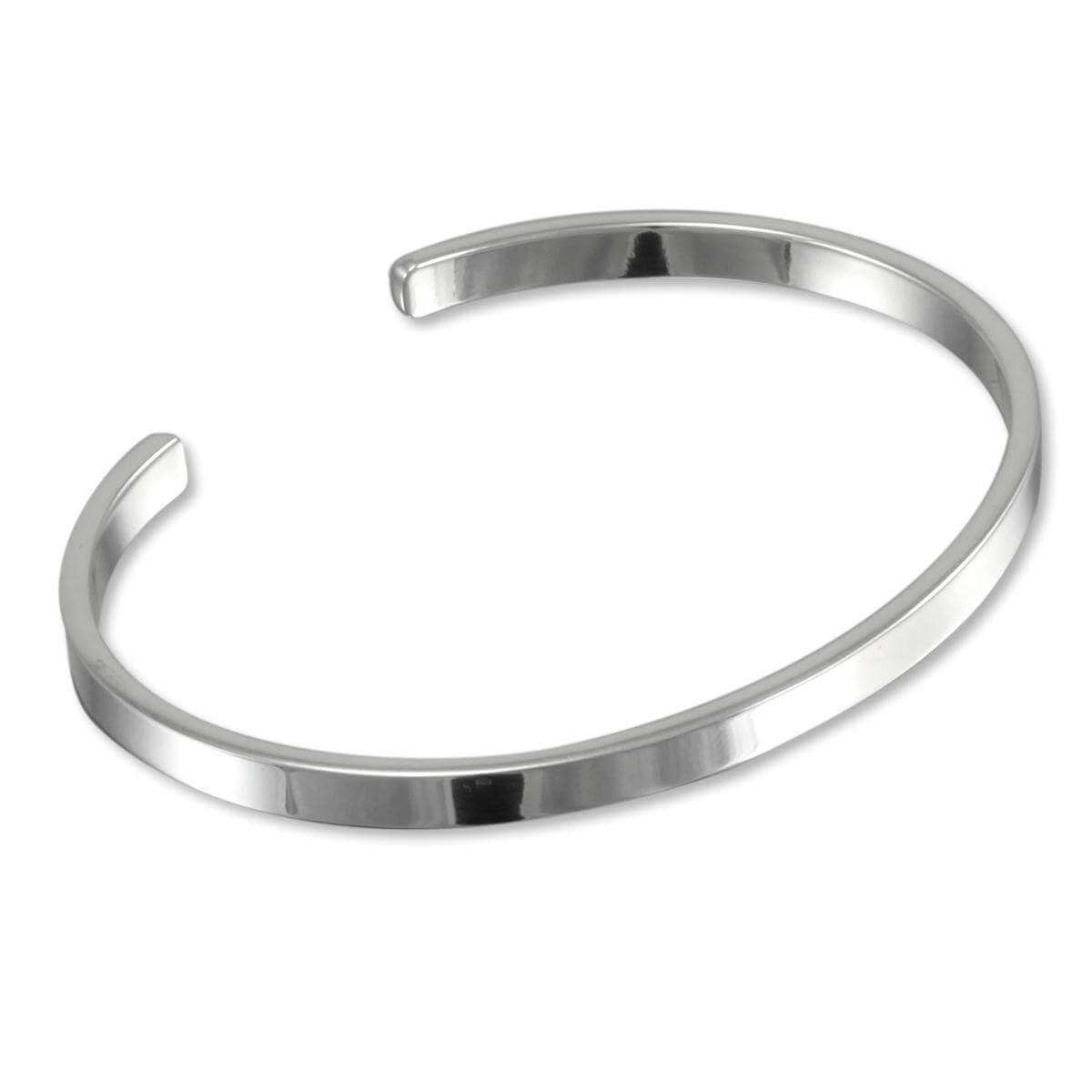 Sterling Silver 4mm Plain Bangle