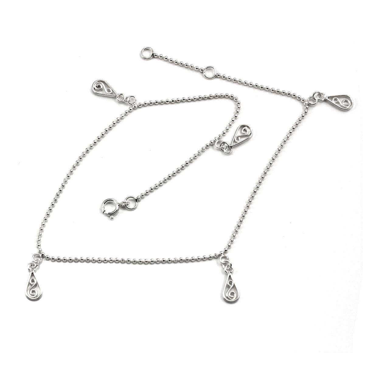 Sterling Silver Twirl Charm Anklet