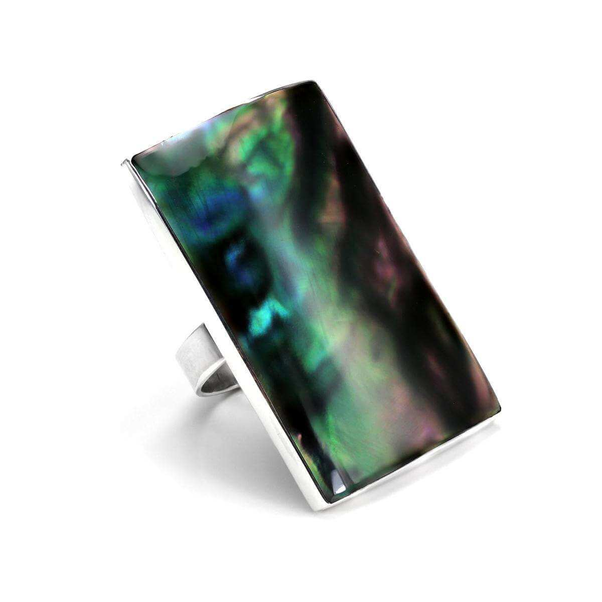 Sterling Silver Abalone Chunky Rectangular Convex Adjustable Ring