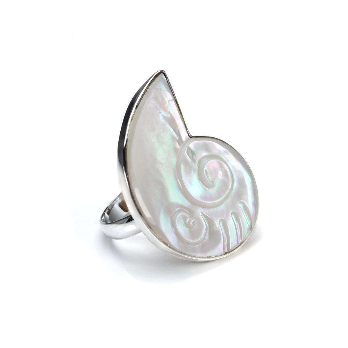 Sterling Silver Mother of Pearl Nautilus Shape Adjustable Ring