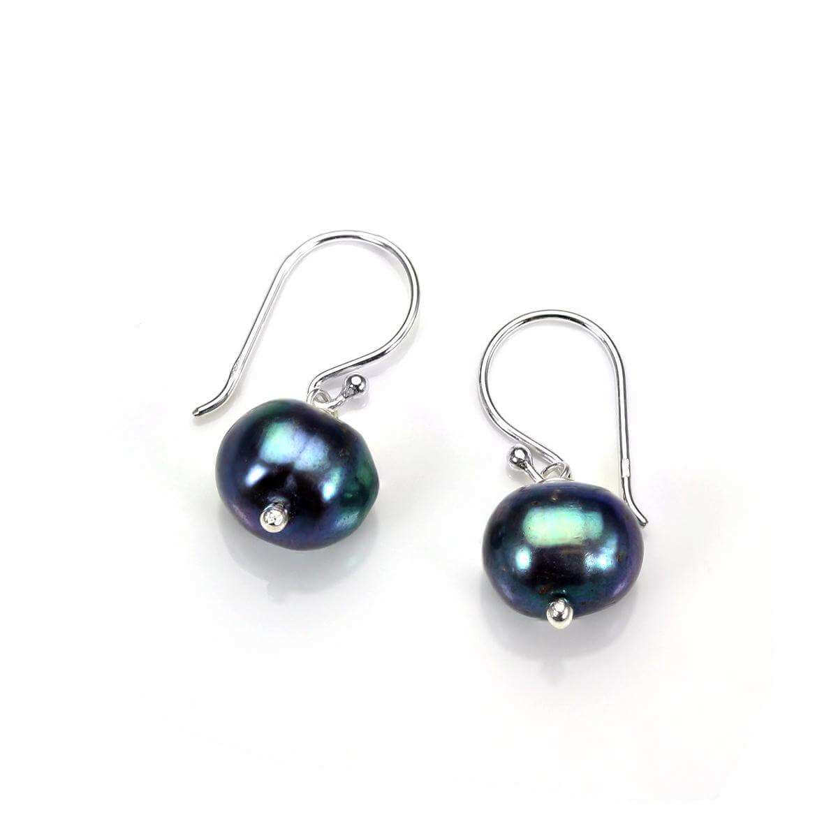 Sterling Silver 9mm Freshwater Pearl Dark Green Drop Earrings