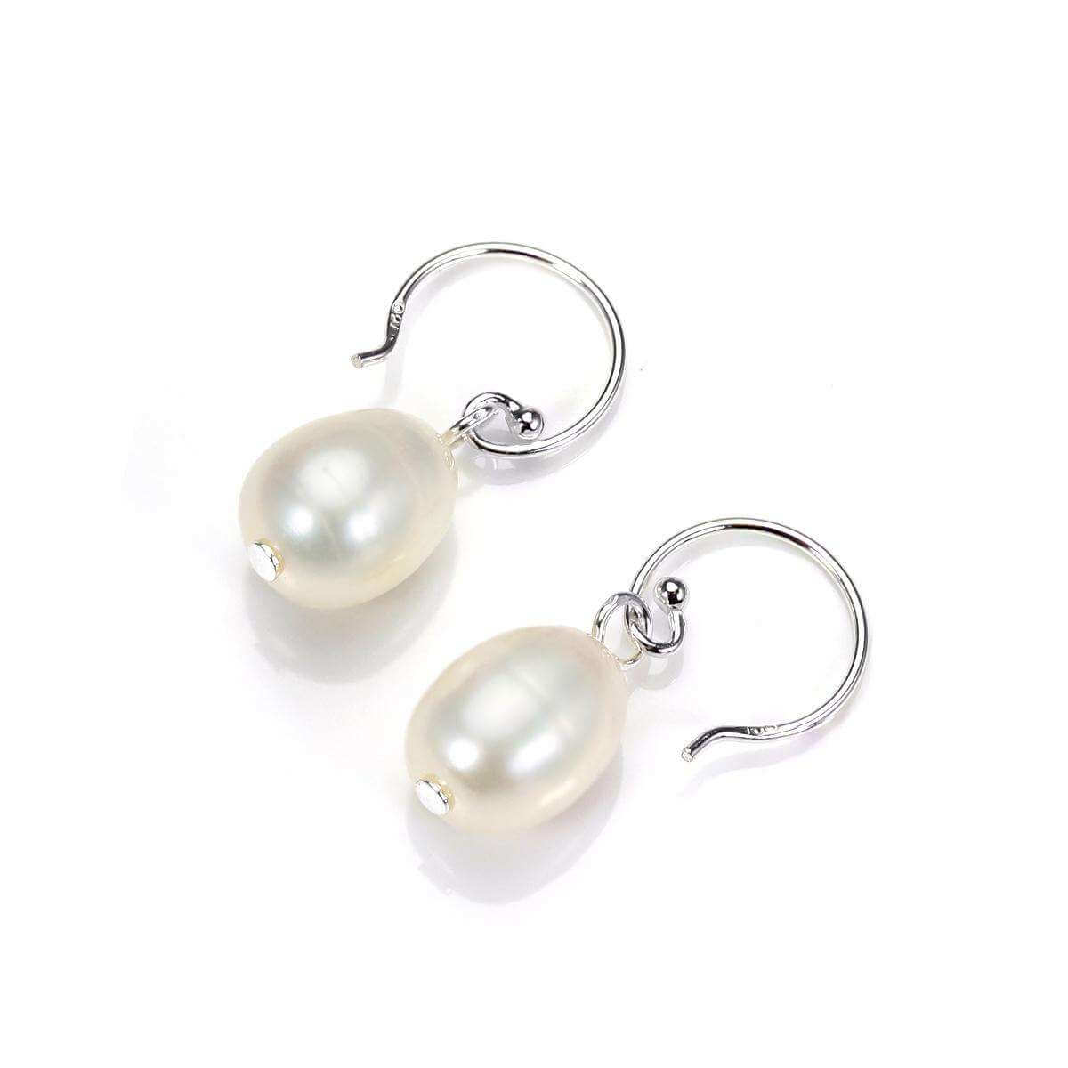 Sterling Silver 11mm Freshwater Pearl Drop Earrings