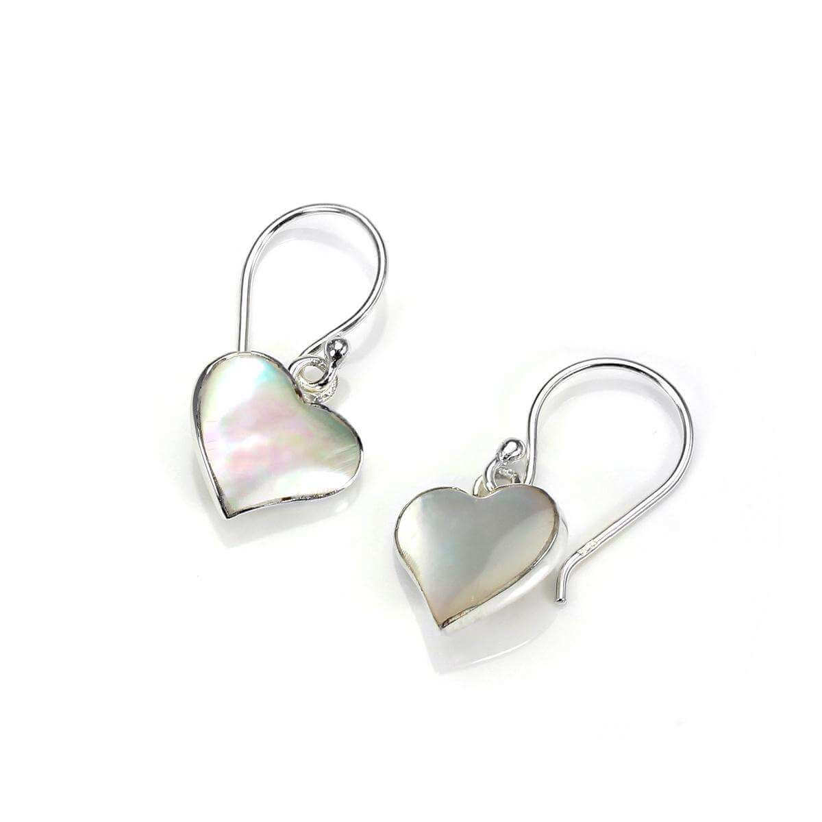 Sterling Silver Mother of Pearl Flat Heart Drop Earrings