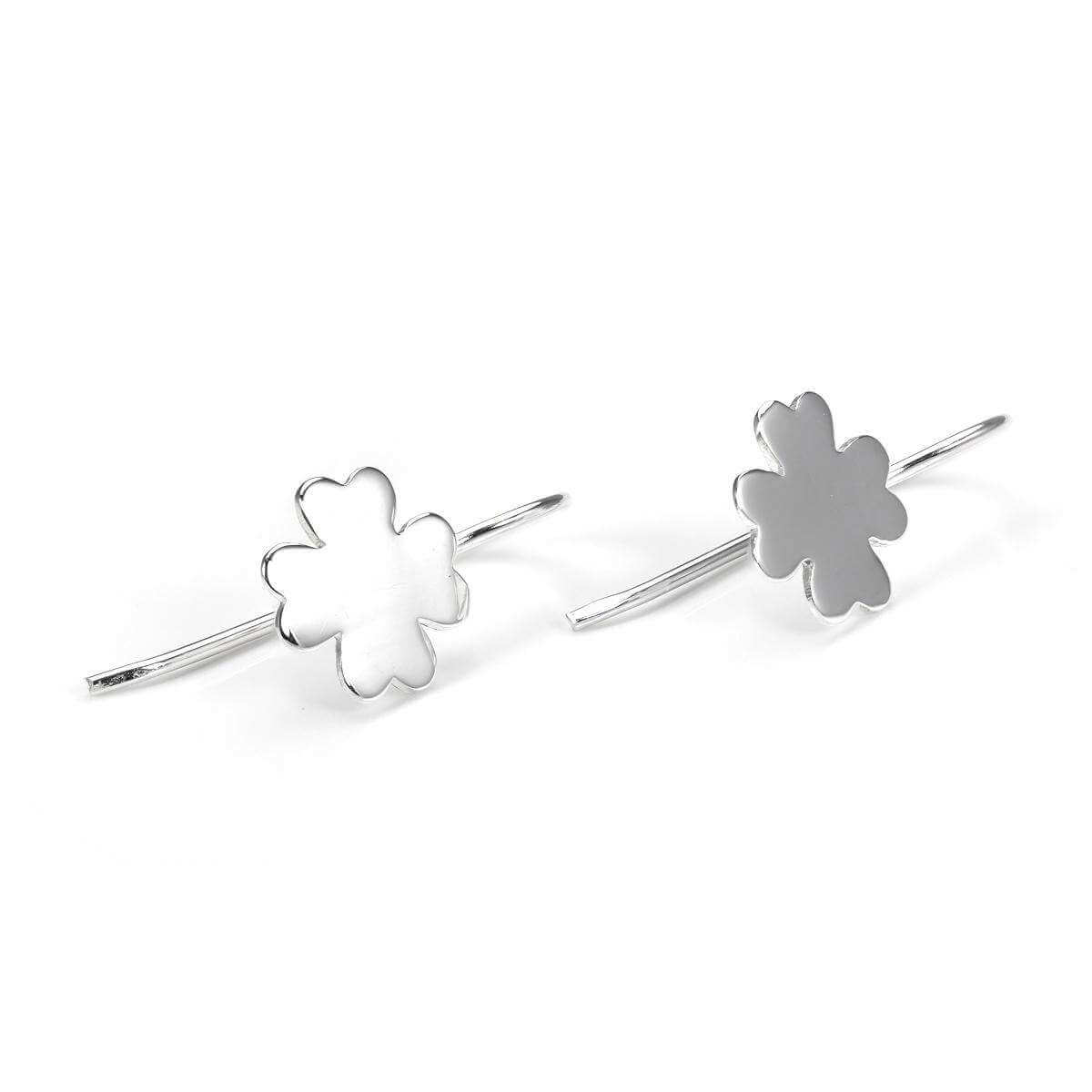 Sterling Silver Plain Shamrock Drop Earrings