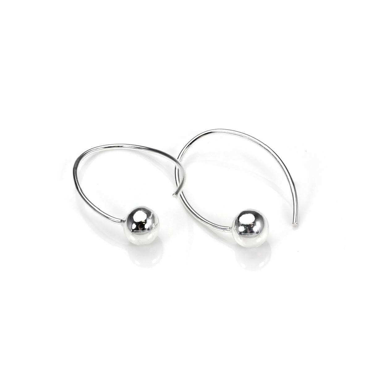 Sterling Silver Ball Loop Wire Drop Earrings