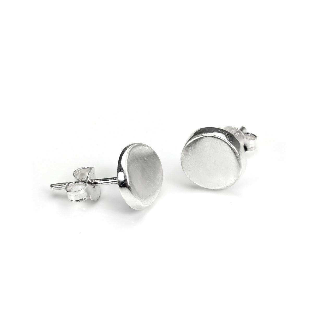 Sterling Silver 8mm Brushed Button Stud Earrings