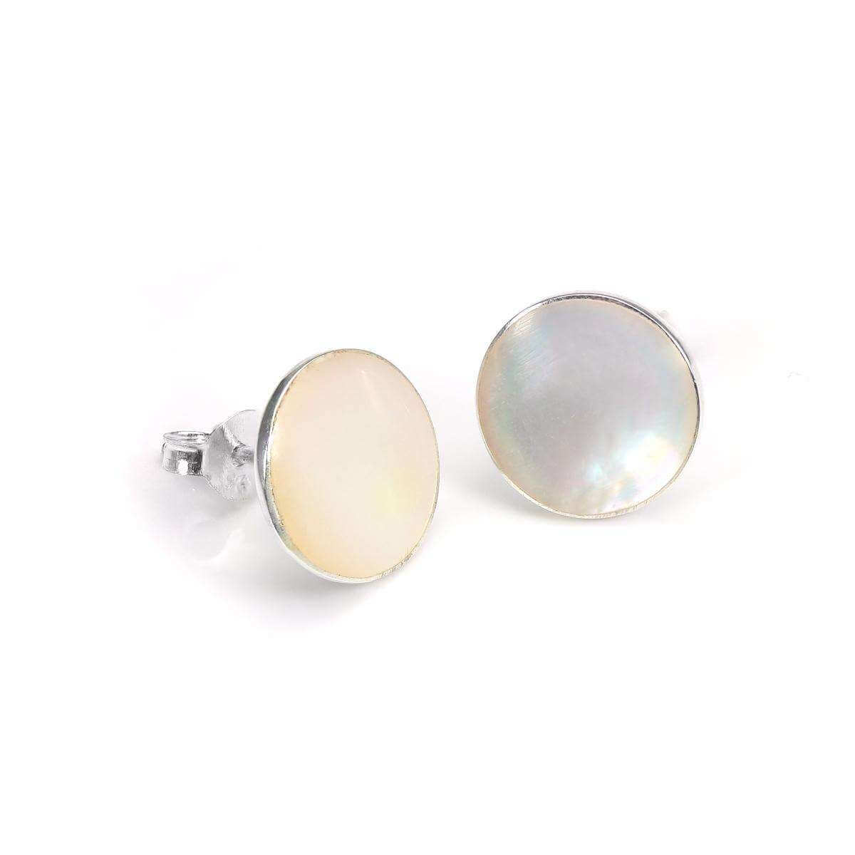 Sterling Silver Mother of Pearl 10mm Round Stud Earrings