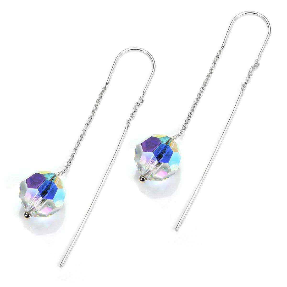 Sterling Silver Aurora Borealis 10mm Pull Through Earrings