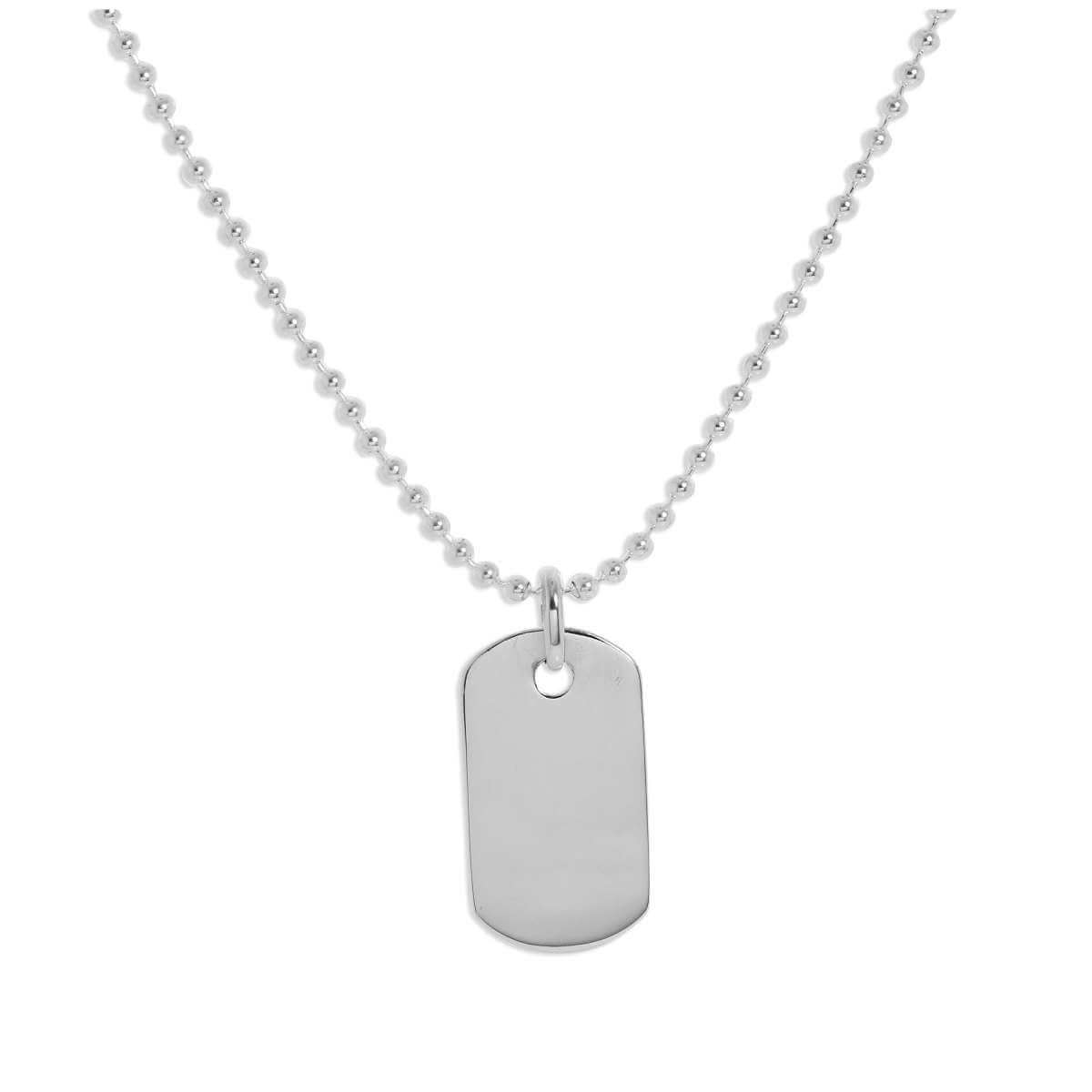 Sterling Silver Plain Engravable Dog Tag Pendant Necklace